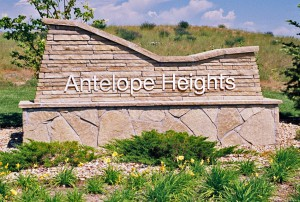 Sign at the entrance to Antelope Heights Neighborhood.