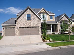 Typical two story home for sale in Canterberry Crossing Neighborhood in Parker, Colorado. Built by Richmond Homes.