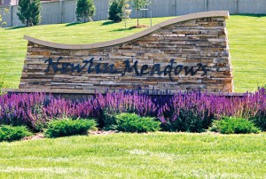 Newlin Meadows Sign. Newlin Meadows is a neighborhood in Parker, Colorado.