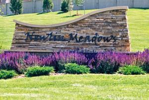 Newlin Meadows Sign. Newlin Meadows is a neighborhood in Parker, Colorado.