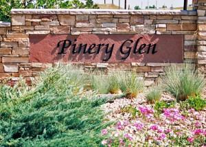 Pinery Glen Neighborhood Sign in Parker, Colorado.