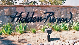 Sign at entrance to the Hidden River Neighborhood in Parker, Colorado.