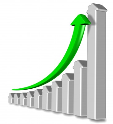 Silver and green graph. Home prices going up in Parker Colorado