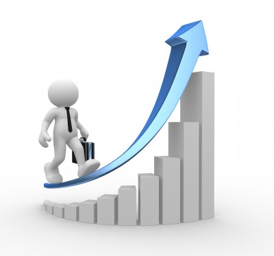 Man walking up a graph showing market appreciation in the housing market