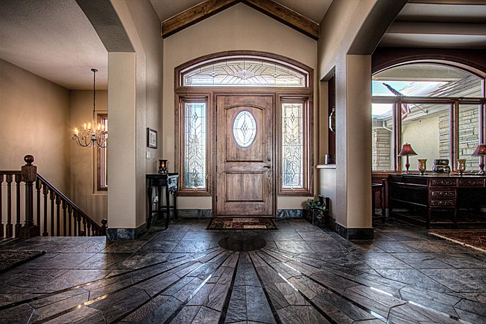 Custom ranch style home entry