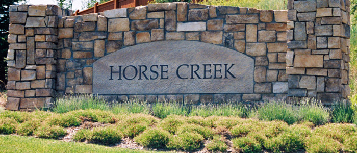 Horse Creek neighborhood sign in Parker, Colorado