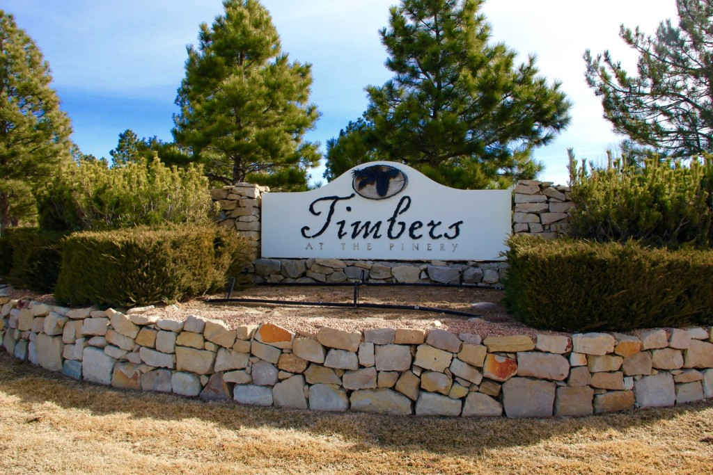 The Timbers main entrance sign, Custom homes and custom home lots.