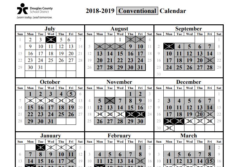 Douglas County School Calendar 2018-2019